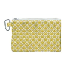 Scales2 White Marble & Yellow Denim Canvas Cosmetic Bag (medium) by trendistuff