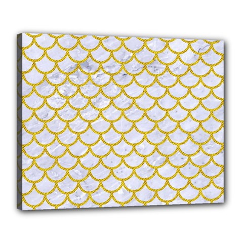 Scales1 White Marble & Yellow Denim (r) Canvas 20  X 16  by trendistuff