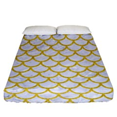 Scales1 White Marble & Yellow Denim (r) Fitted Sheet (queen Size) by trendistuff
