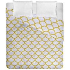 Scales1 White Marble & Yellow Denim (r) Duvet Cover Double Side (california King Size) by trendistuff