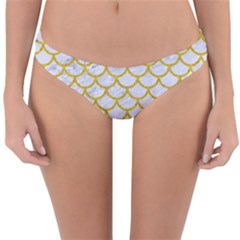 Scales1 White Marble & Yellow Denim (r) Reversible Hipster Bikini Bottoms