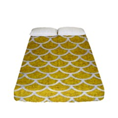 Scales1 White Marble & Yellow Denim Fitted Sheet (full/ Double Size) by trendistuff