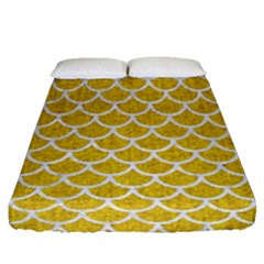 Scales1 White Marble & Yellow Denim Fitted Sheet (queen Size) by trendistuff