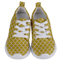 Scales1 White Marble & Yellow Denim Kids  Lightweight Sports Shoes