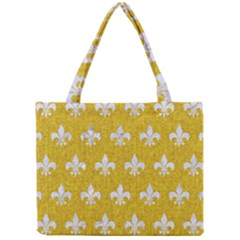 Royal1 White Marble & Yellow Denim (r) Mini Tote Bag by trendistuff