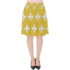 Royal1 White Marble & Yellow Denim (r) Velvet High Waist Skirt by trendistuff