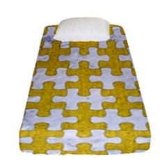 Puzzle1 White Marble & Yellow Denim Fitted Sheet (single Size) by trendistuff