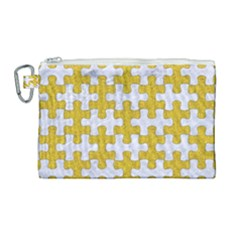 Puzzle1 White Marble & Yellow Denim Canvas Cosmetic Bag (large) by trendistuff