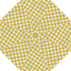 Houndstooth2 White Marble & Yellow Denim Golf Umbrellas by trendistuff
