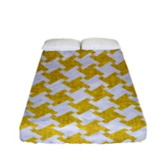Houndstooth2 White Marble & Yellow Denim Fitted Sheet (full/ Double Size) by trendistuff