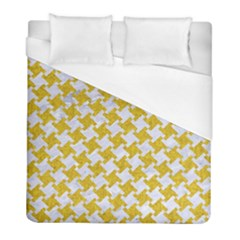 Houndstooth2 White Marble & Yellow Denim Duvet Cover (full/ Double Size) by trendistuff