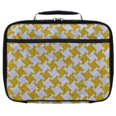 Houndstooth2 White Marble & Yellow Denim Full Print Lunch Bag by trendistuff