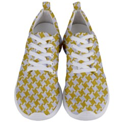 Houndstooth2 White Marble & Yellow Denim Men s Lightweight Sports Shoes