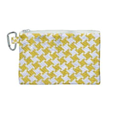 Houndstooth2 White Marble & Yellow Denim Canvas Cosmetic Bag (medium) by trendistuff