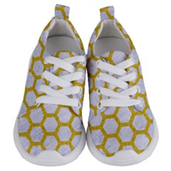 Hexagon2 White Marble & Yellow Denim (r) Kids  Lightweight Sports Shoes