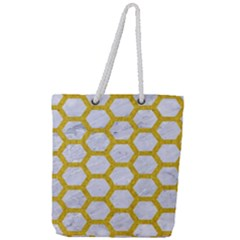 Hexagon2 White Marble & Yellow Denim (r) Full Print Rope Handle Tote (large) by trendistuff