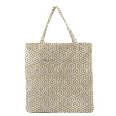 Hexagon1 White Marble & Yellow Denim (r) Grocery Tote Bag by trendistuff