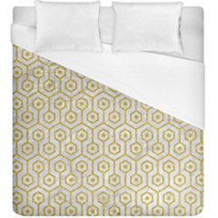 Hexagon1 White Marble & Yellow Denim (r) Duvet Cover (king Size) by trendistuff