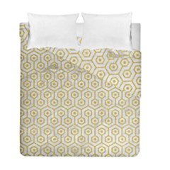 Hexagon1 White Marble & Yellow Denim (r) Duvet Cover Double Side (full/ Double Size) by trendistuff