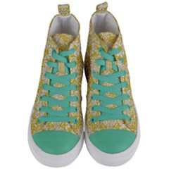 Damask2 White Marble & Yellow Denimhite Marble & Yellow Denim Women s Mid Top Canvas Sneakers