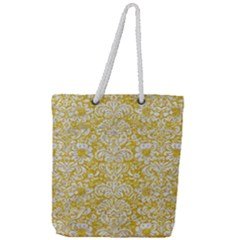 Damask2 White Marble & Yellow Denimhite Marble & Yellow Denim Full Print Rope Handle Tote (large) by trendistuff