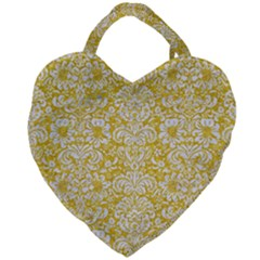 Damask2 White Marble & Yellow Denimhite Marble & Yellow Denim Giant Heart Shaped Tote