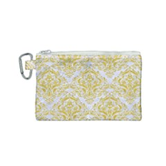 Damask1 White Marble & Yellow Denim (r) Canvas Cosmetic Bag (small) by trendistuff