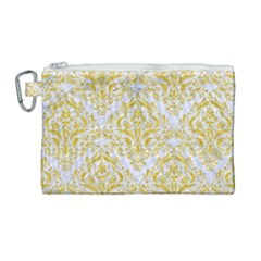 Damask1 White Marble & Yellow Denim (r) Canvas Cosmetic Bag (large) by trendistuff