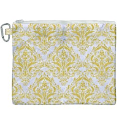 Damask1 White Marble & Yellow Denim (r) Canvas Cosmetic Bag (xxxl) by trendistuff