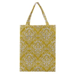 Damask1 White Marble & Yellow Denim Classic Tote Bag