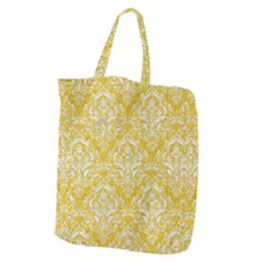 Damask1 White Marble & Yellow Denim Giant Grocery Zipper Tote by trendistuff