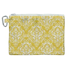 Damask1 White Marble & Yellow Denim Canvas Cosmetic Bag (xl) by trendistuff