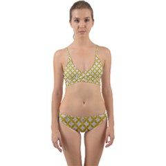 Circles3 White Marble & Yellow Denim (r) Wrap Around Bikini Set