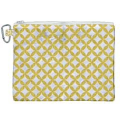 Circles3 White Marble & Yellow Denim (r) Canvas Cosmetic Bag (xxl) by trendistuff