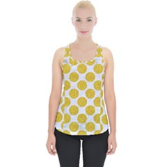 Circles2 White Marble & Yellow Denim (r) Piece Up Tank Top