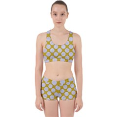 Circles2 White Marble & Yellow Denim Work It Out Sports Bra Set by trendistuff