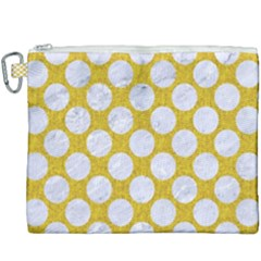 Circles2 White Marble & Yellow Denim Canvas Cosmetic Bag (xxxl) by trendistuff