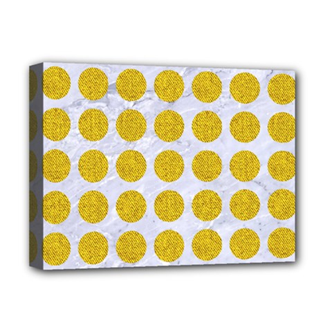 Circles1 White Marble & Yellow Denim (r) Deluxe Canvas 16  X 12   by trendistuff