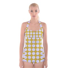 Circles1 White Marble & Yellow Denimcircles1 White Marble & Yellow Denim Boyleg Halter Swimsuit