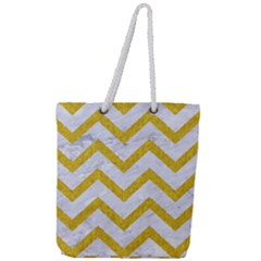 Chevron9 White Marble & Yellow Denim (r) Full Print Rope Handle Tote (large) by trendistuff