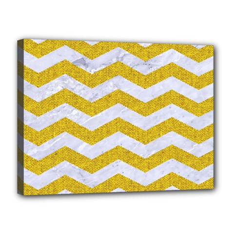 Chevron3 White Marble & Yellow Denim Canvas 16  X 12