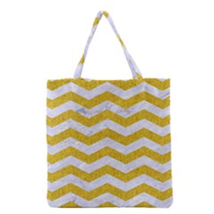 Chevron3 White Marble & Yellow Denim Grocery Tote Bag by trendistuff