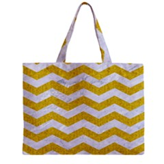 Chevron3 White Marble & Yellow Denim Zipper Mini Tote Bag by trendistuff