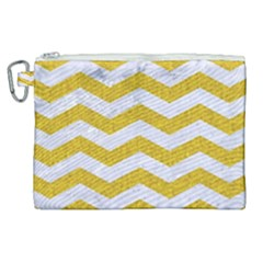 Chevron3 White Marble & Yellow Denim Canvas Cosmetic Bag (xl) by trendistuff