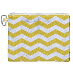 Chevron3 White Marble & Yellow Denim Canvas Cosmetic Bag (xxl) by trendistuff