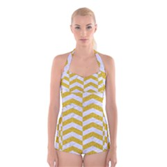 Chevron2 White Marble & Yellow Denim Boyleg Halter Swimsuit