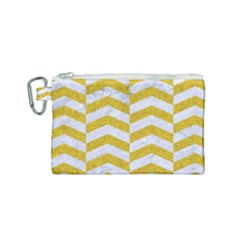 Chevron2 White Marble & Yellow Denim Canvas Cosmetic Bag (small) by trendistuff