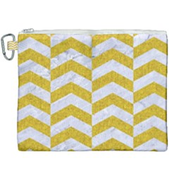 Chevron2 White Marble & Yellow Denim Canvas Cosmetic Bag (xxxl) by trendistuff