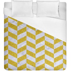 Chevron1 White Marble & Yellow Denim Duvet Cover (king Size) by trendistuff