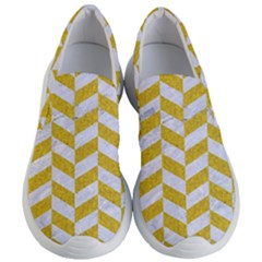Chevron1 White Marble & Yellow Denim Women s Lightweight Slip Ons